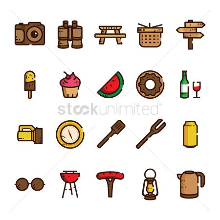 Wooden sign : Outdoor activity icon set