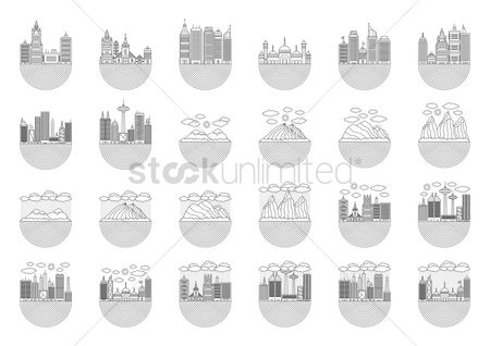 Mountains : Outlined buildings and landscapes