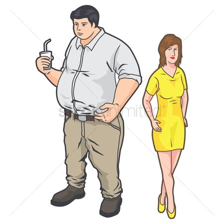 Take away cup : Overweight man and woman