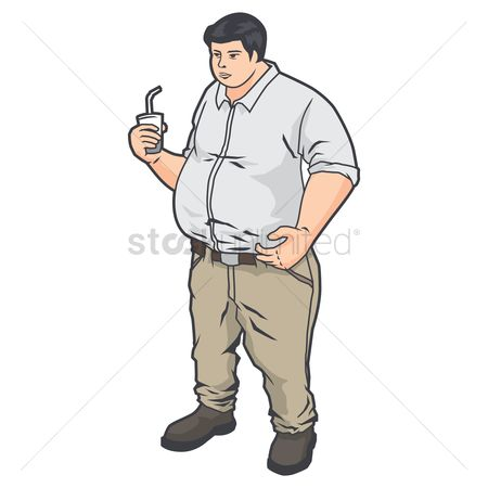 Take away cup : Overweight man