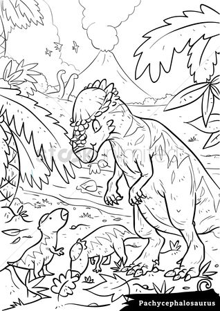 Colorings : Pachycephalosaurus with hatchlings