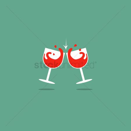 Red wines : Pair of red wine glasses