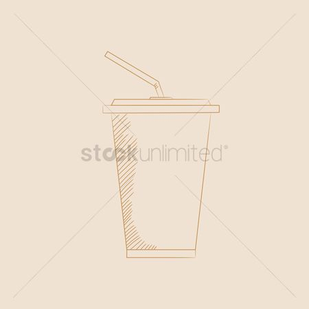 Take away cup : Paper cup with straw