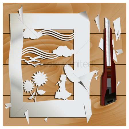 Sceneries : Paper cutout of scenery