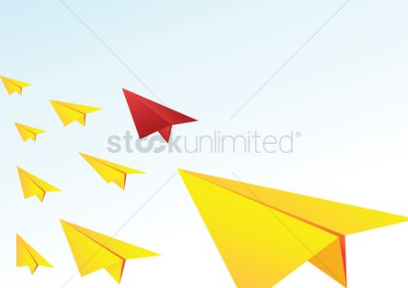 Red : Paper planes on a gradient blue background