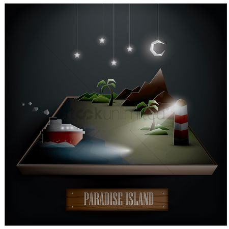 Ocean : Paradise island during the night