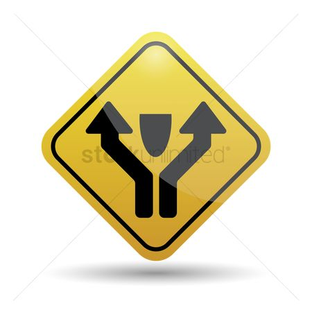 Caution : Pass left or right obstacle sign
