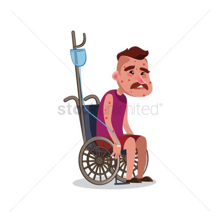 Wheelchair : Patient on wheelchair with iv drip