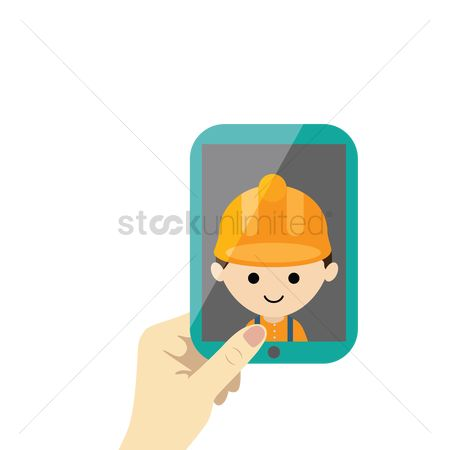 Builder : Pc tablet in hand