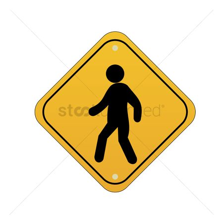 Attention : Pedestrian crossing road sign