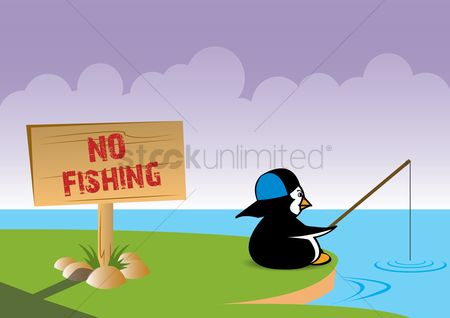 Wooden sign : Penguin goes fishing