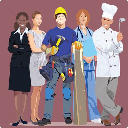 Constructions : People from various professions