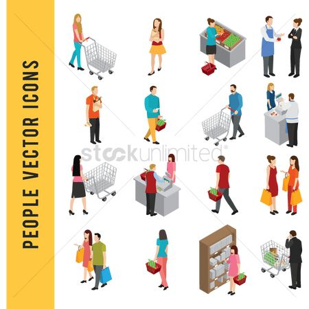 Shopping cart : People vector icons