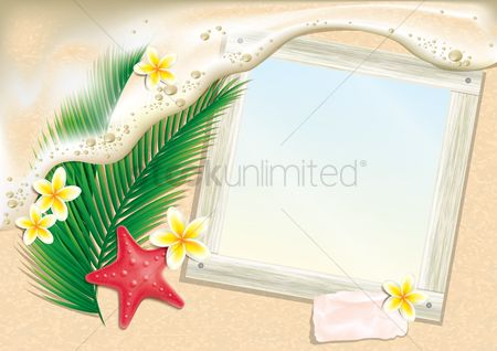 Starfishes : Photo frame on beach