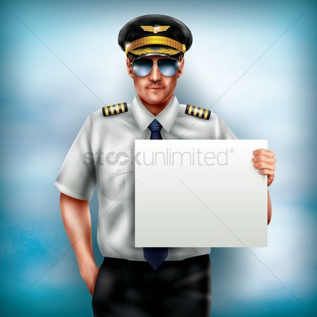 Profession : Pilot holding placard