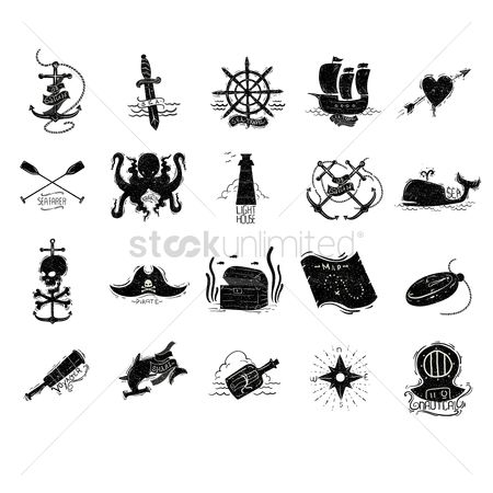 Lighthouses : Pirate and sea vectors