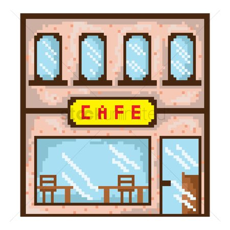 Signages : Pixel art cafe