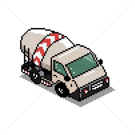 Machineries : Pixel art cement mixer truck