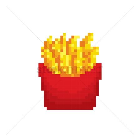 Unhealthy eating : Pixel art french fries