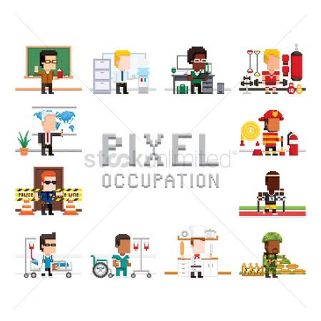 Teacher : Pixel art occupation collection