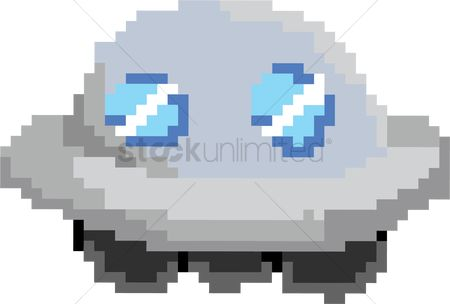 Spaceships : Pixel art of alien spaceship