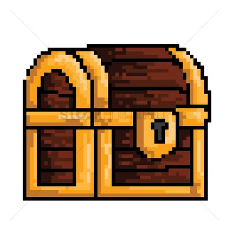 Silver : Pixel art treasure chest