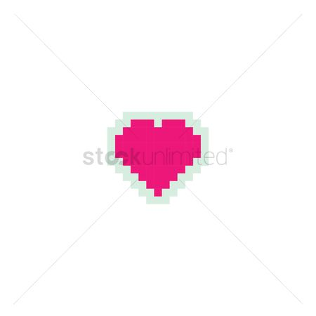 Vintage : Pixelated heart shaped