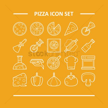 Toppings : Pizza icon set