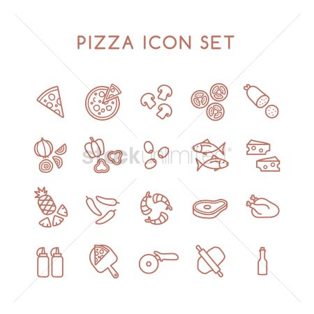 Topping : Pizza icon set