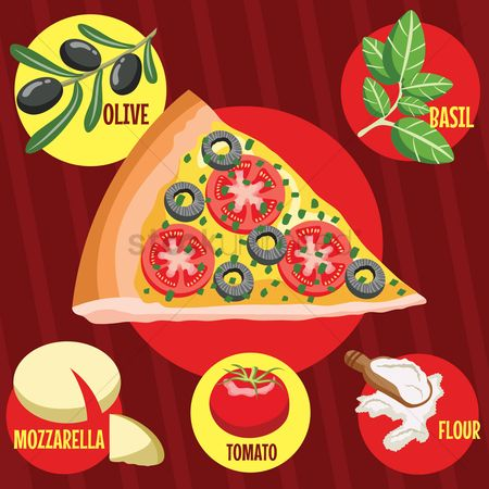 Flour : Pizza slice with ingredients