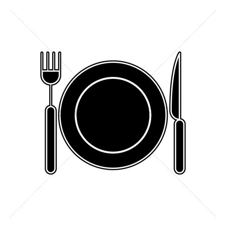 Dine : Plate  fork and knife
