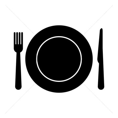 Eat : Plate with fork and knife