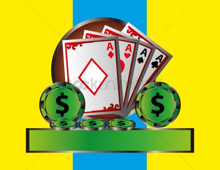 Poker chips : Playing cards and gambling chips banner