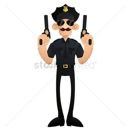 Policemen : Policeman with pistols in hands