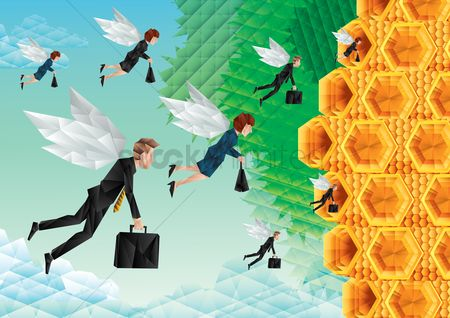 Workers : Polygonal illustration of worker bees