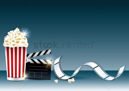 Popcorns : Popcorn and clapperboard with film roll