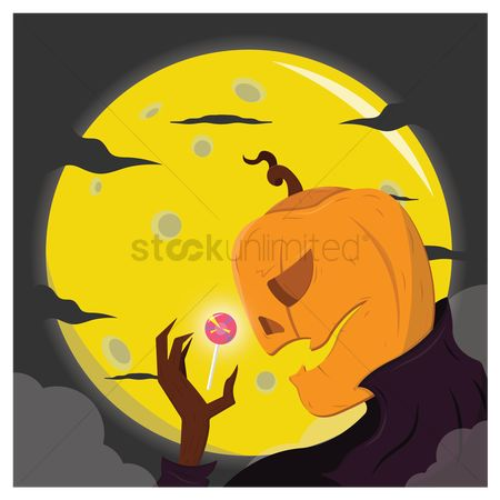 Jack o lantern : Pumpkin ghost with lollipop