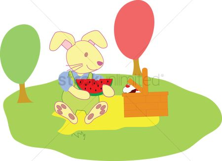 Watermelon slice : Rabbit having a picnic