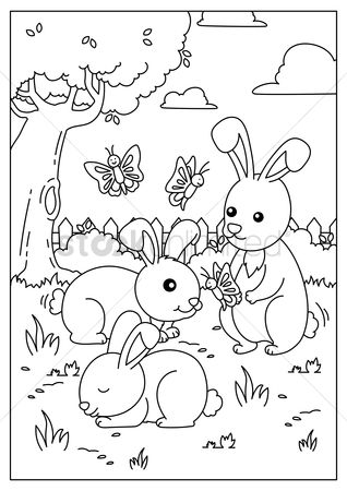Cartoon : Rabbits playing with butterflies