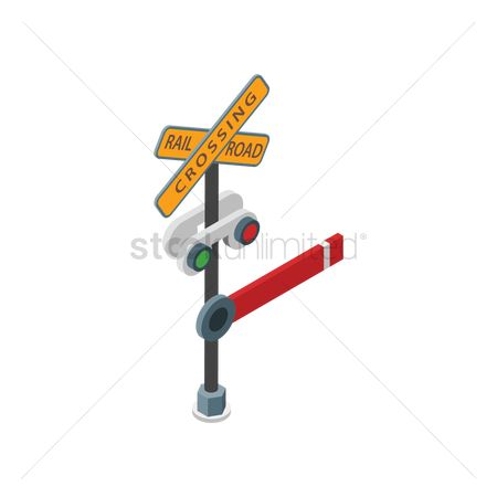 Barrier : Railroad crossing sign