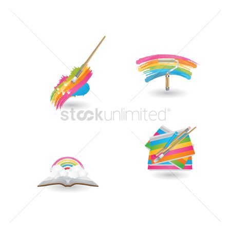 Roller brush : Rainbow icons collection