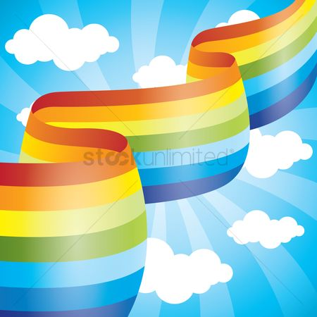 Cartoon : Rainbow ribbon in the sky