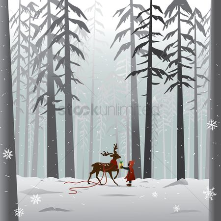Season : Reindeer in the forest