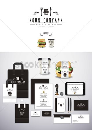 Hamburgers : Restaurant corporate identity elements