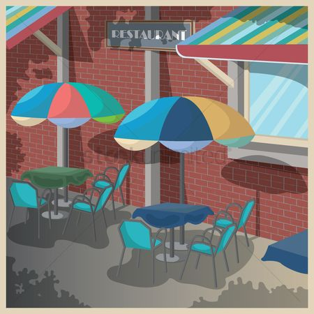 Umbrella : Restaurant facade