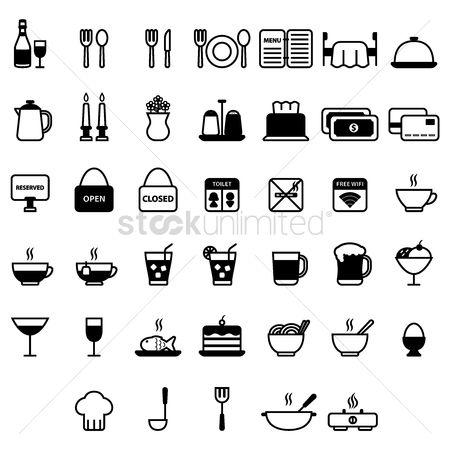 Cream : Restaurant icon set
