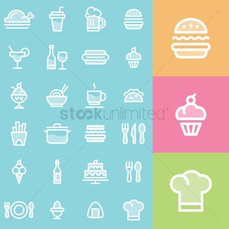 French fries : Restaurant icons set
