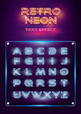 Fonts : Retro neon lights alphabet set