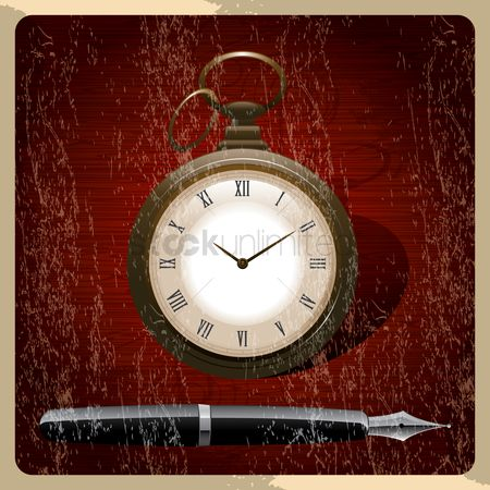 Notification : Retro poster of pocket watch with ink pen