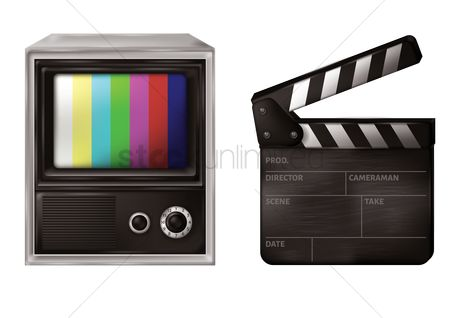 Screens : Retro television and clapboard
